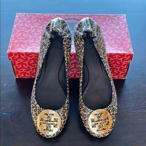 Tory Burch Reva Flat Leopard Leather Shoes sz 9